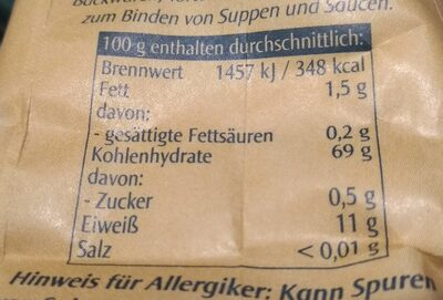 Weizenmehl 550 - Nährwertangaben - de