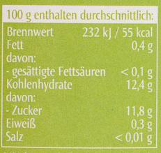 Apfelmark pur - Nutrition facts - de