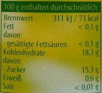 Sauerkirschen entsteint - Nutrition facts