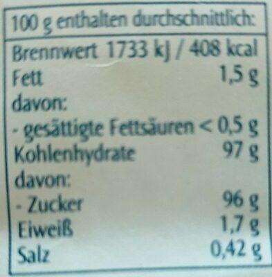 Kokosblütenzucker - Valori nutrizionali - de