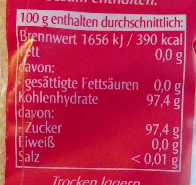 Rohrohr Zucker - Informations nutritionnelles