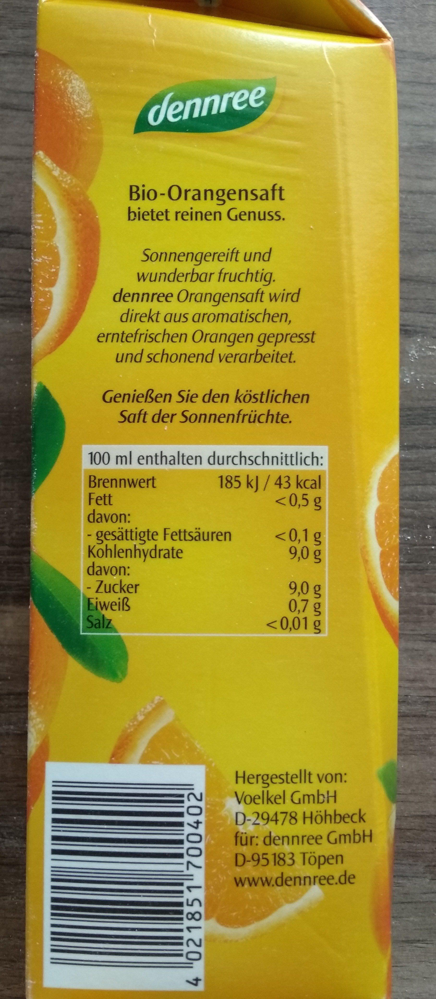 dennree Orangensaft - Nutrition facts