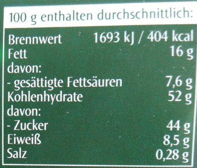 Feine Oblaten-Lebkuchen mit Schokoladenglasur - Nährwertangaben