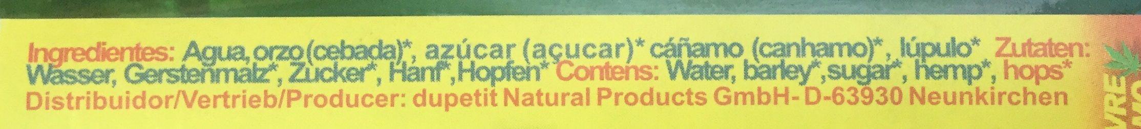 Der Hanftrunk - Ingredientes - es