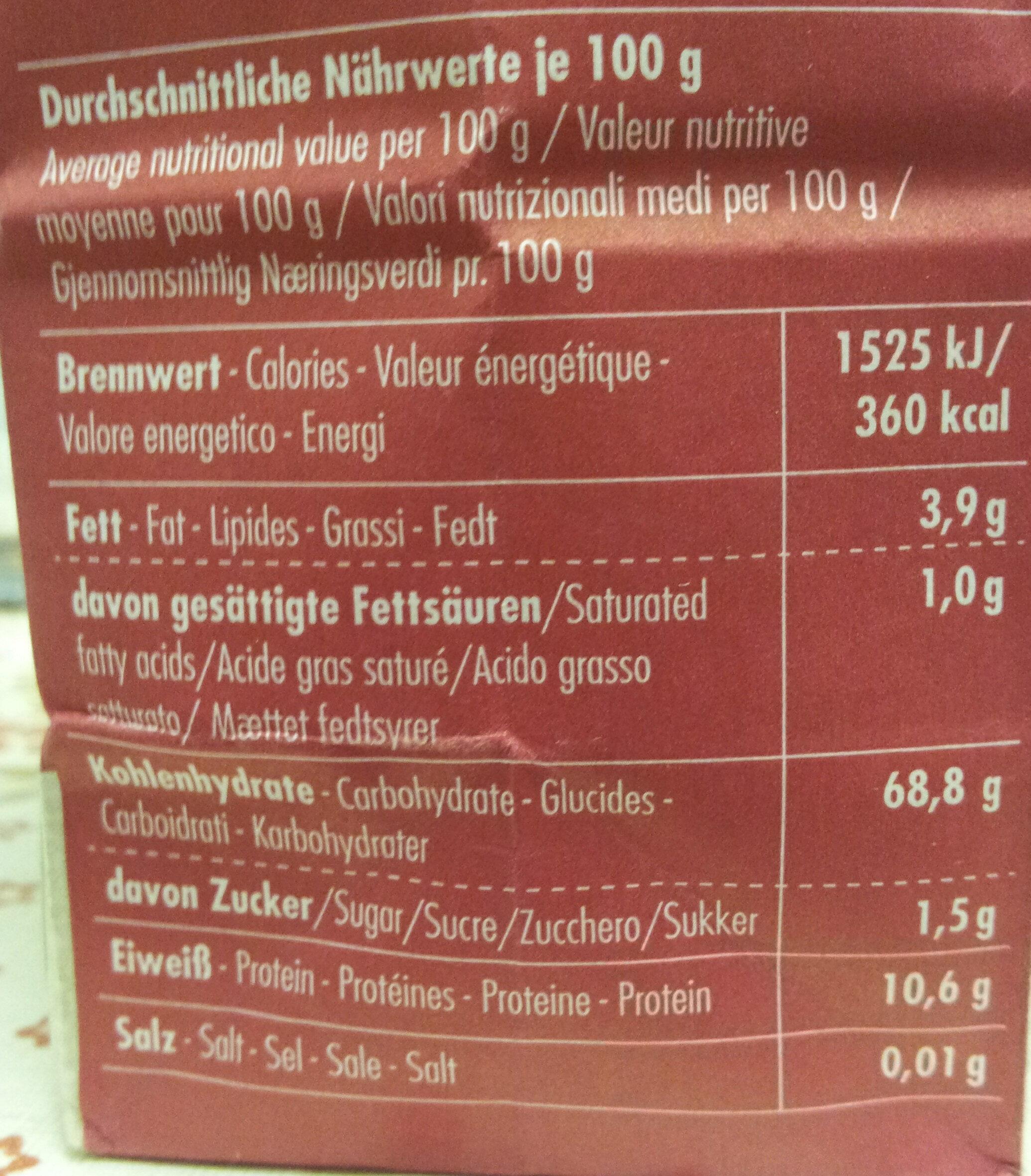 Hirseflocken - Nutrition facts - de