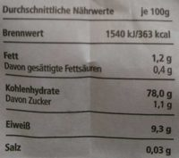 Basmati Reis - Nutrition facts - de