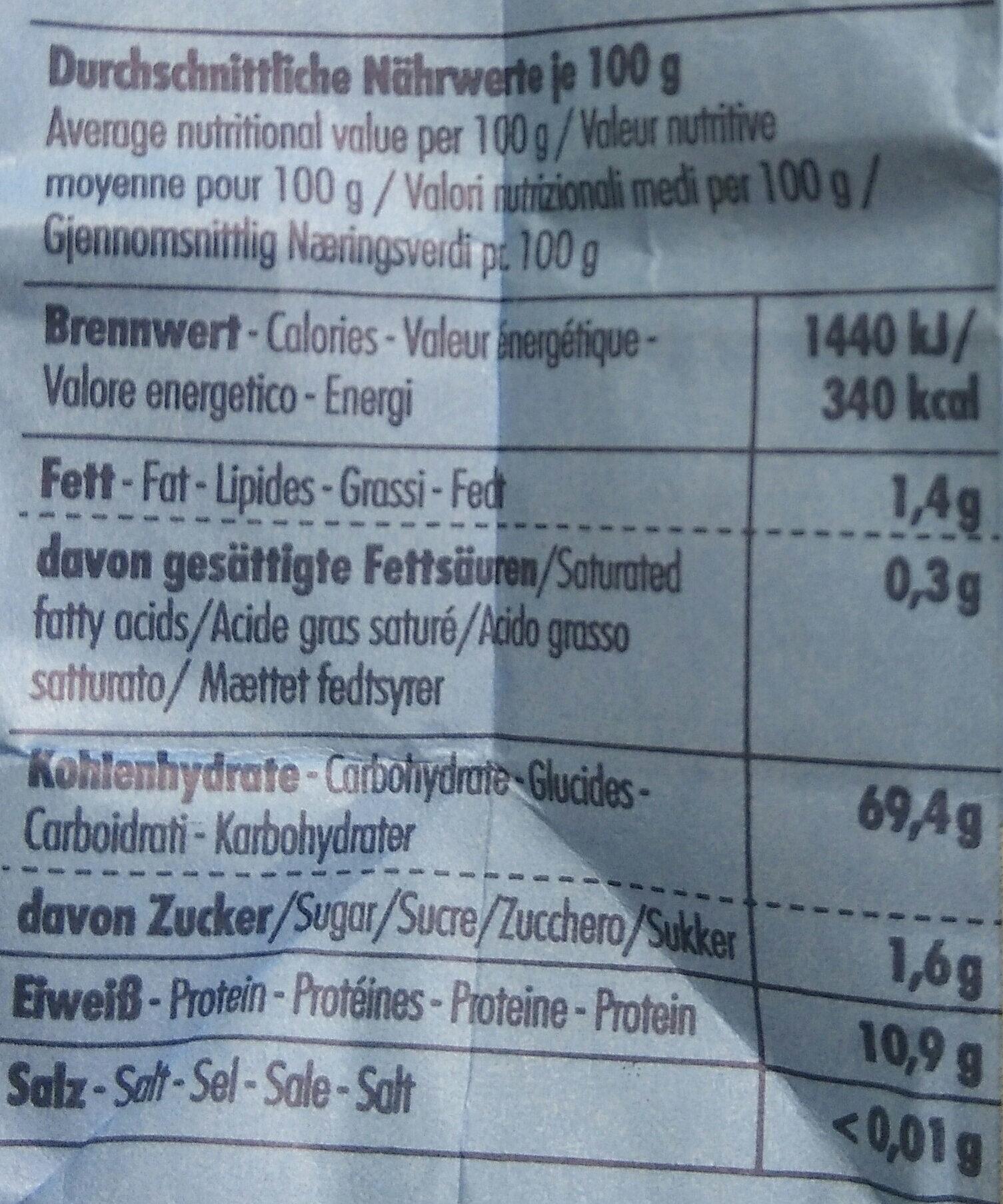 Hartweizengrieß - Nutrition facts - de