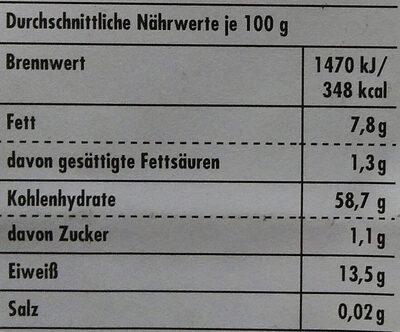 Haferflocken Kleinblatt - Nährwertangaben