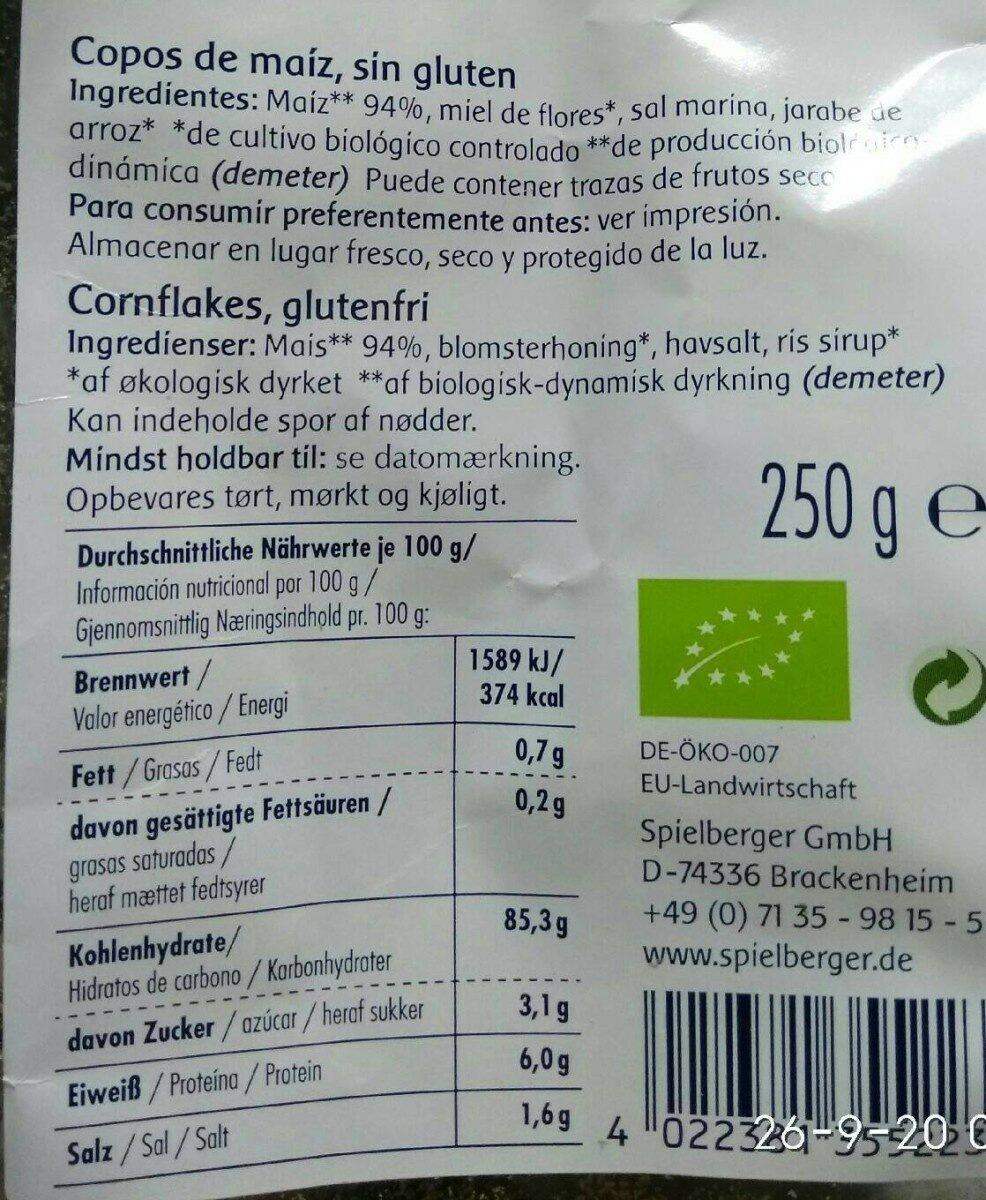 Corn Flakes, Spielberger, Bio - Informations nutritionnelles - de