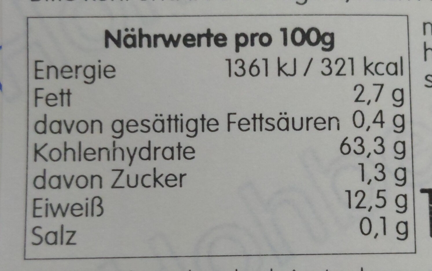 urkorn emmervollkornmehl - Nutrition facts - en