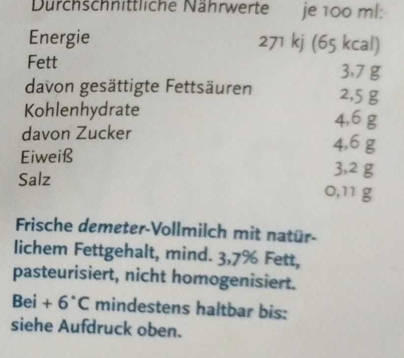 frische Bio Vollmilch - Nährwertangaben - de