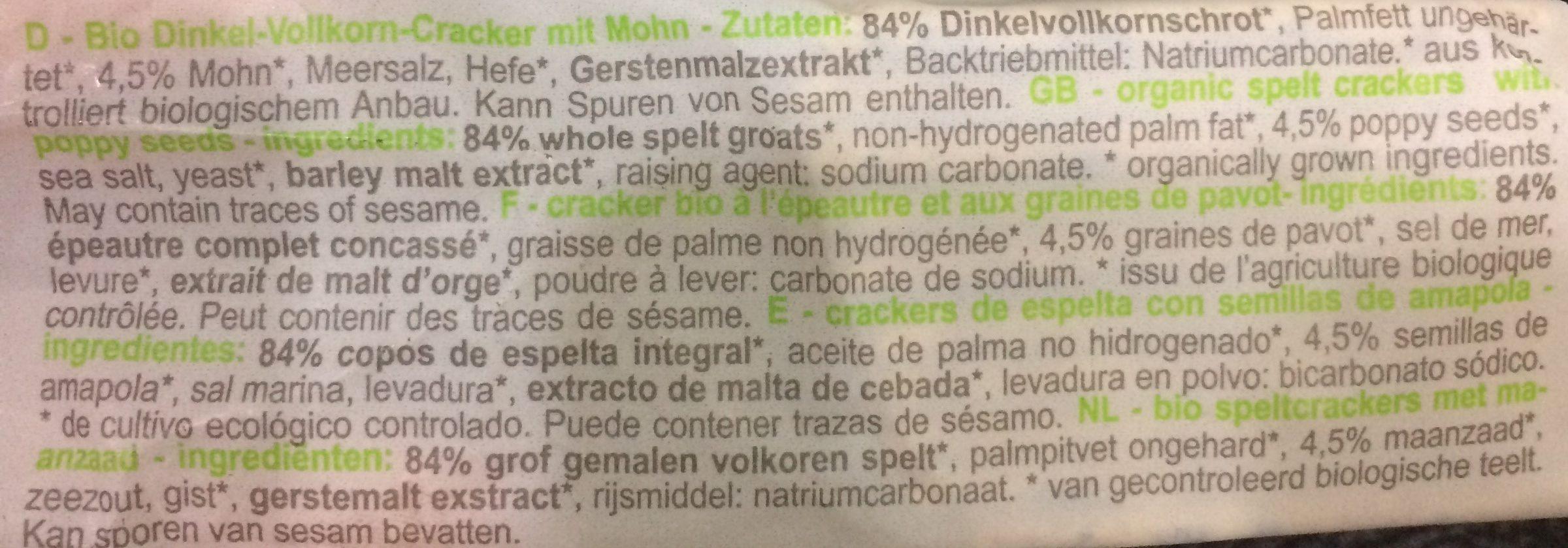 Cracker Epeautre Pavot - Ingredients