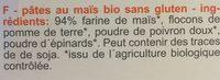 Pâtes Spirelli Tricolores Au Maïs Bio - 200G - Schnitzer - Ingredients