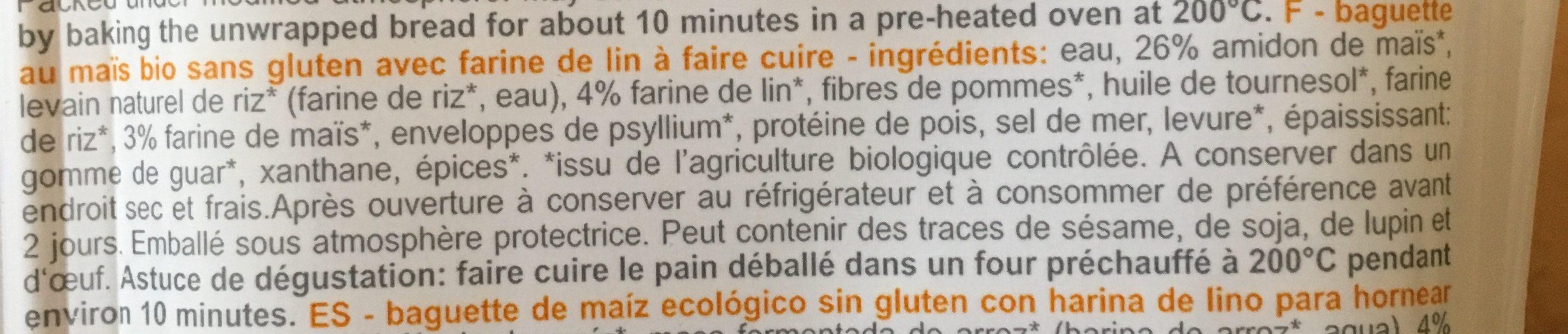 Gluten Free Organic Baguette Rustic - Ingredients