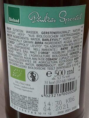 Pinkus Special - Voedingswaarden - nl