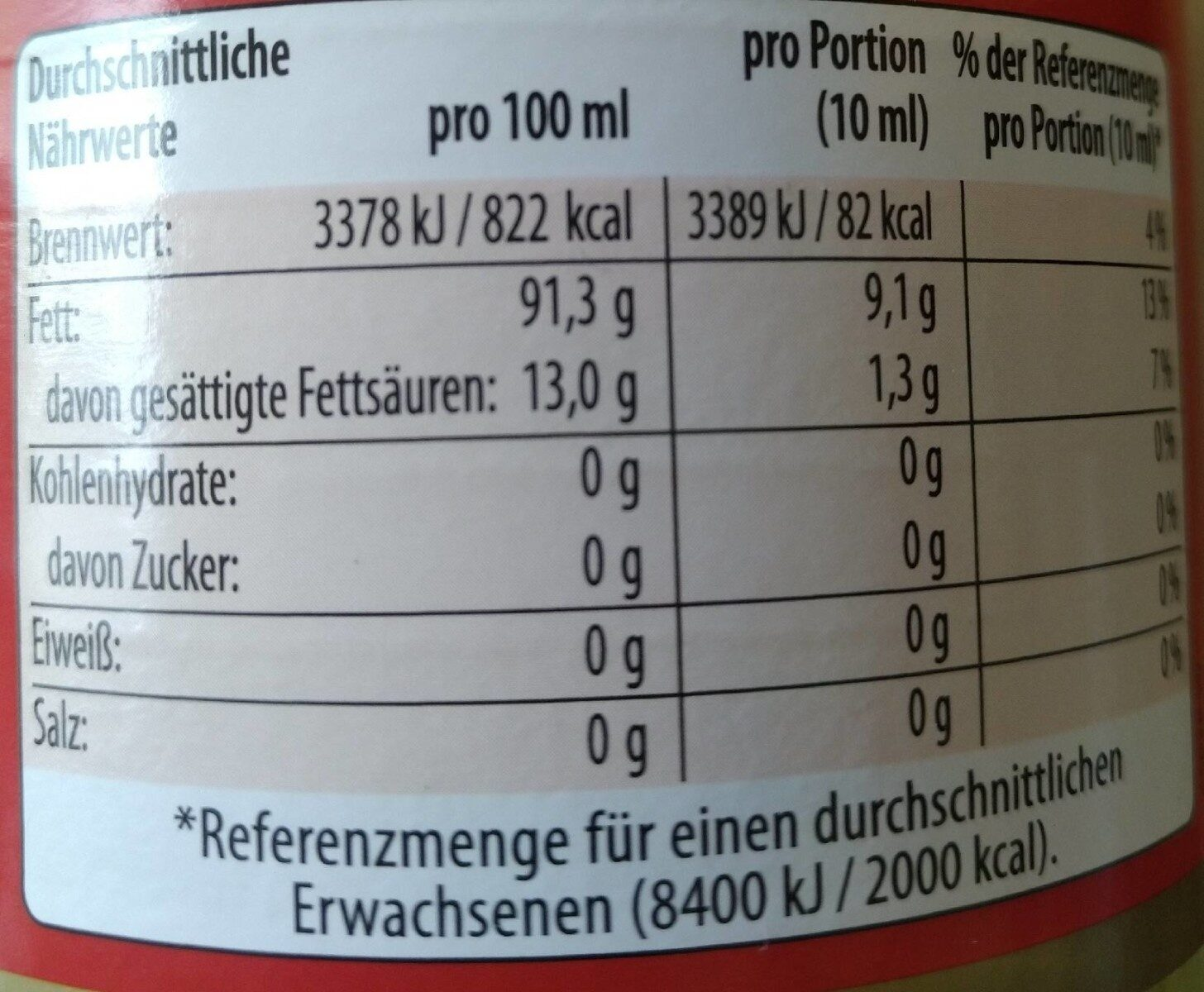 Erdnuss-Öl - Informations nutritionnelles - de