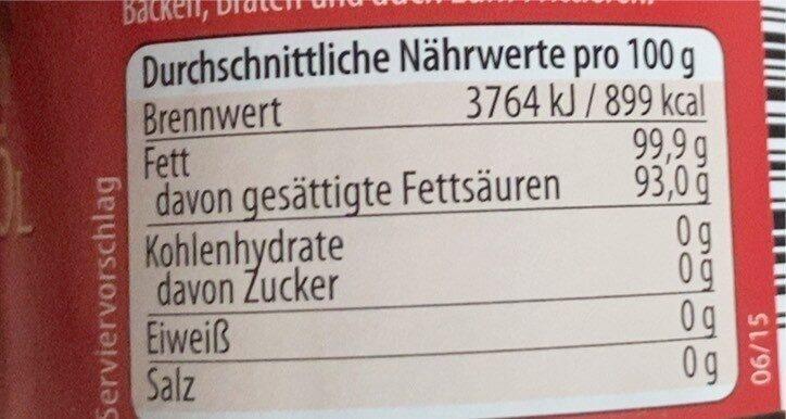 Kokos-Öl - Informations nutritionnelles - de