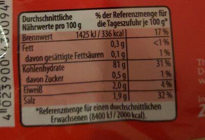 Reisteigplatten - Informations nutritionnelles - en