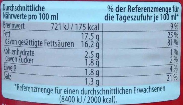 Kokosmilch cremig - Informations nutritionnelles - de