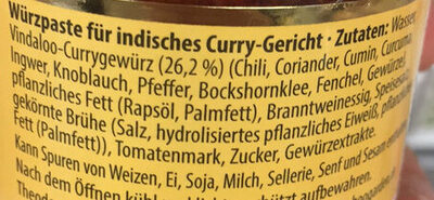 India Curry Paste Hot, Vindaloo - Ingredienti - de