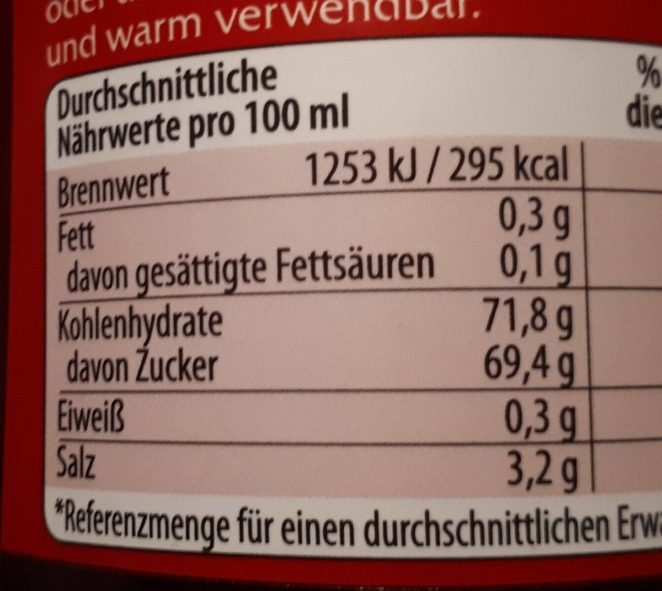 Sweet Chili Sauce - Informations nutritionnelles - en