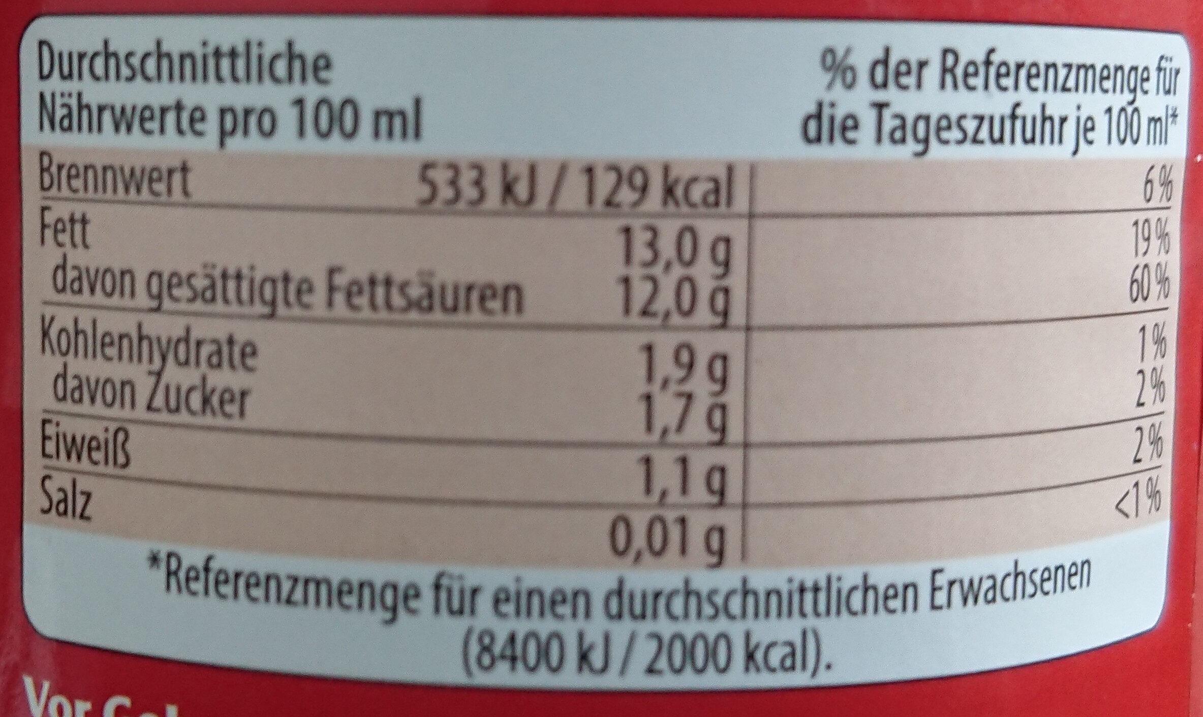 Fettreduzierte Kokosmilch - Informations nutritionnelles - de