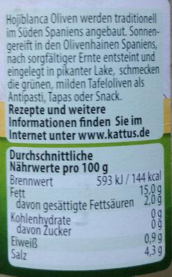 Oliven - Informations nutritionnelles - de