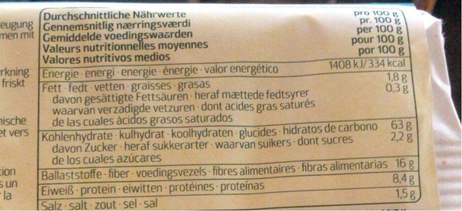 Naturata volkoren knäckebröd - Nutrition facts - en