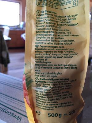 vegatable stock - Ingredienti - fr
