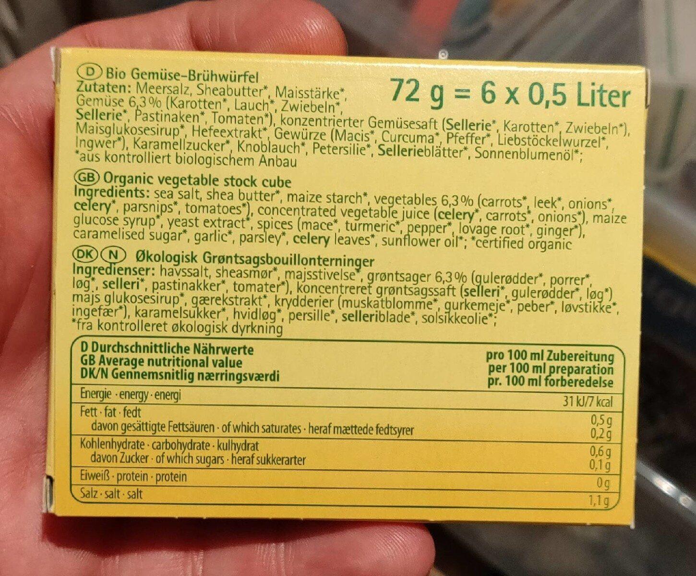 Gemüse-Brühwürfel - Informations nutritionnelles