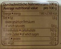 Pâte à la farine d'épeautre - Nutrition facts