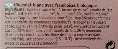 Chocolat blanc framboises - Ingredients