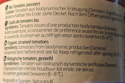 Coulis de tomate bio - Ingrédients - fr