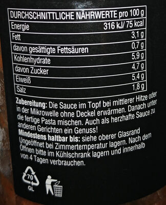 Pastasauce Bolognese - Nutrition facts