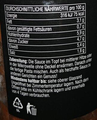 Pastasauce Bolognese - Nutrition facts - de