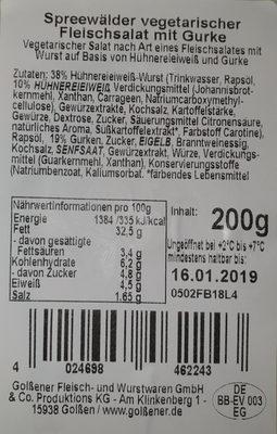 Spreewälder Vegetarischer Fleischsalat - Ingredients