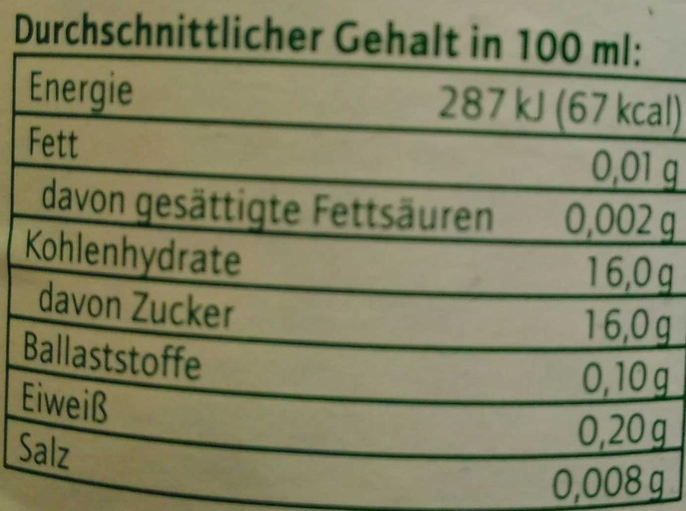 Traubensaft Direktsaft - Informations nutritionnelles - de