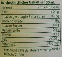 Bananen-Nektar - Nährwertangaben