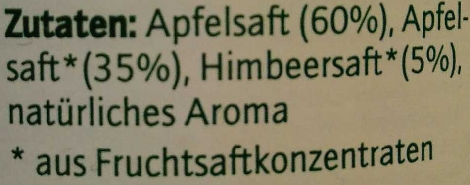 Apfel-Himbeer-Drink - Ingredients - de