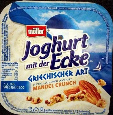 Joghurt mit der Ecke Griechischer Art Mandel Crunch - Produit