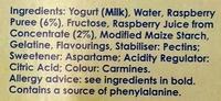 Light Greek Style Smooth Ravishing Raspberry Yogurt - Ingredients - en