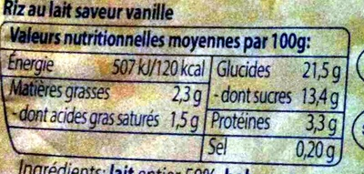 Riz au lait saveur vanille - Voedigswaarden