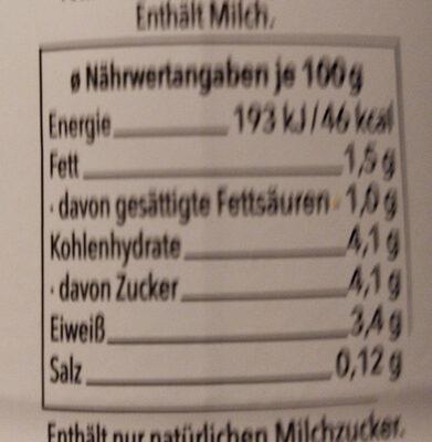 Fettarmer Kefir 1.5% - Nährwertangaben - de