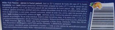 Muller Fruit Passion - piersici & fructul pasiunii - Ingredients - ro