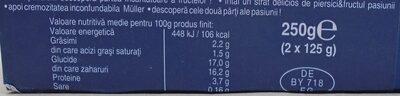 Muller Fruit Passion - piersici & fructul pasiunii - Nutrition facts - ro