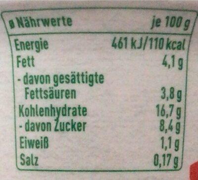 Veganreis Vanille - Nährwertangaben - de