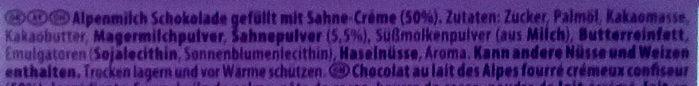 Milka Sahne-Creme - Ingrédients - de