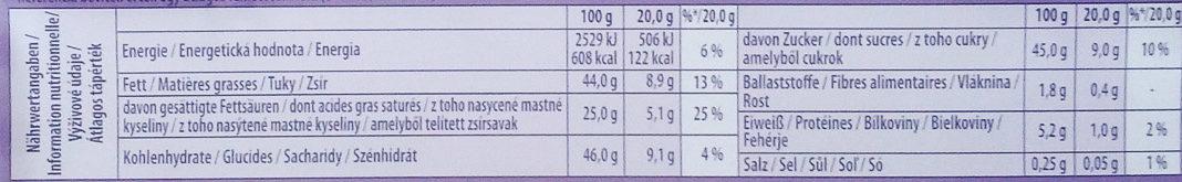 Milka Sahne-Creme - Informations nutritionnelles - de