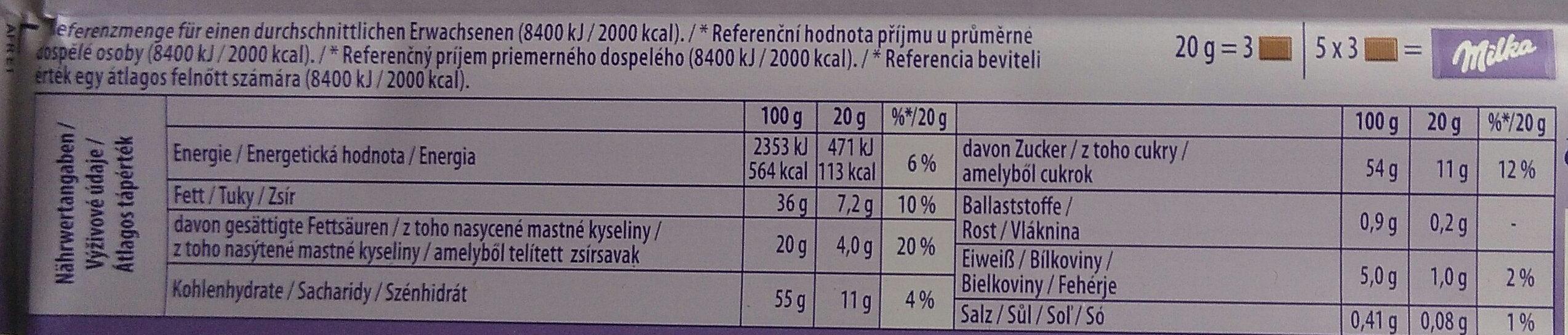 Milka Joghurt - Nährwertangaben - de