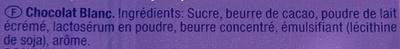 White Chocolate Bar - Ingrédients - fr